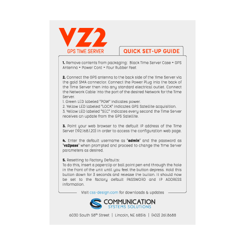 VZ2 quick setup guide for verizon time server